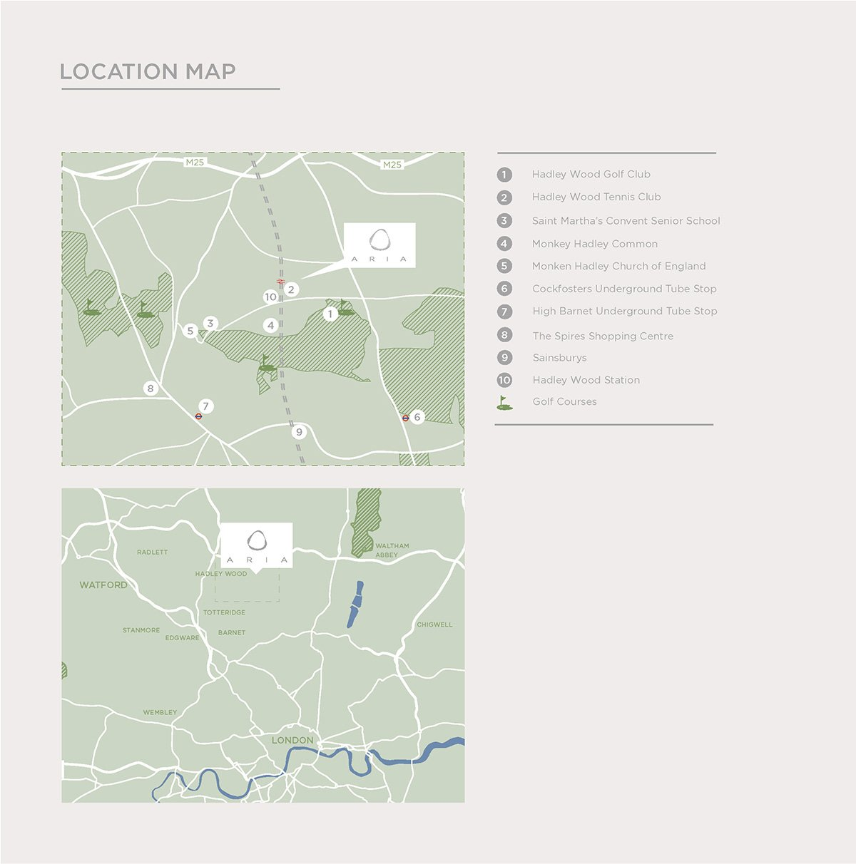 2d location map from luxury aria property brochure