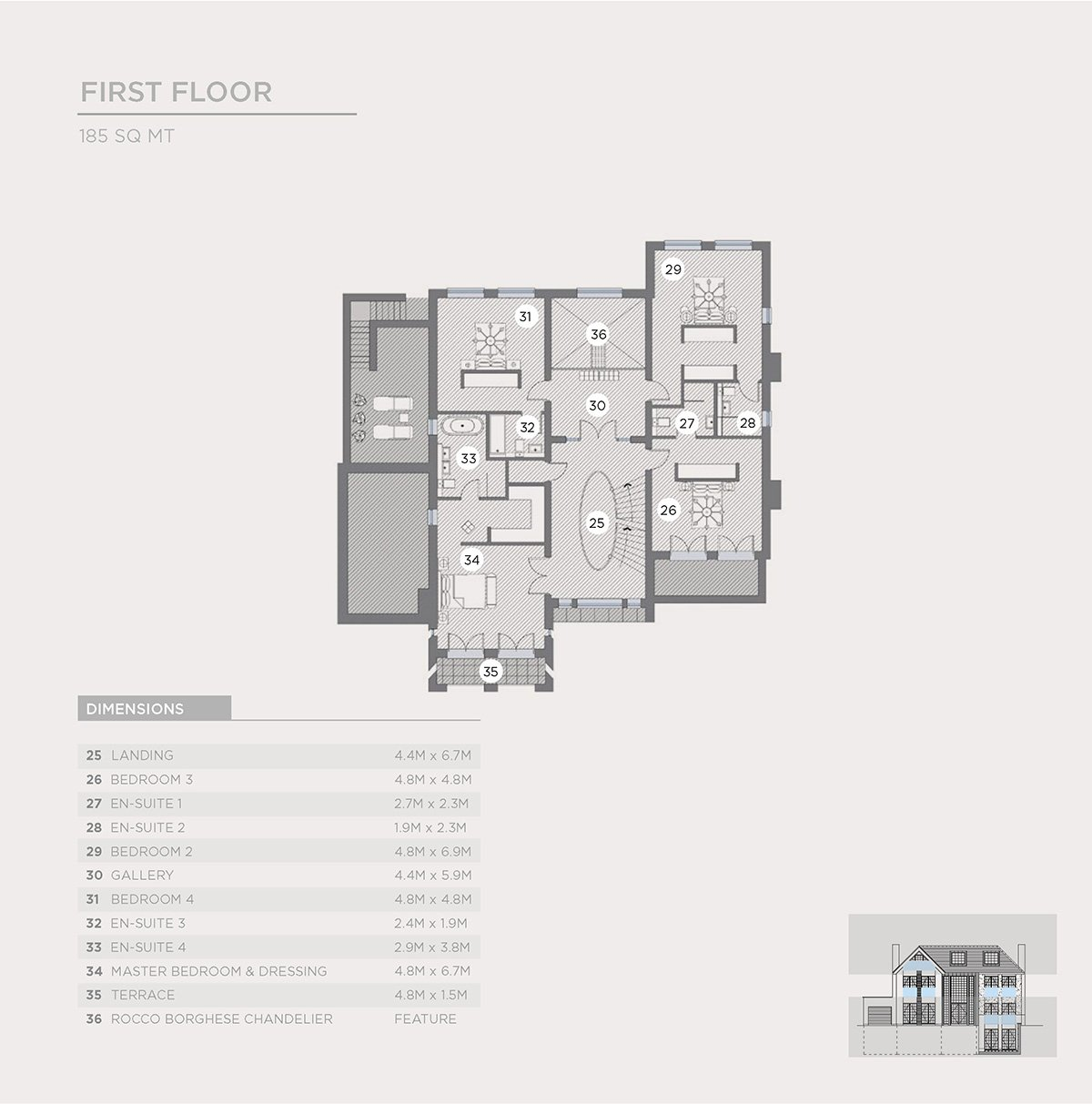 2d first floor plan of luxury property brochure page
