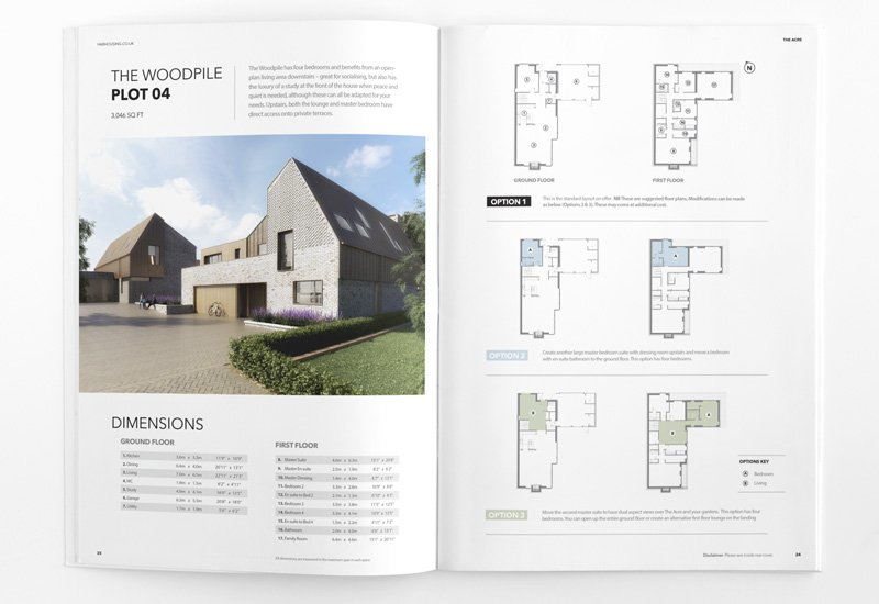 open property marketing brochure with exterior property visualisation